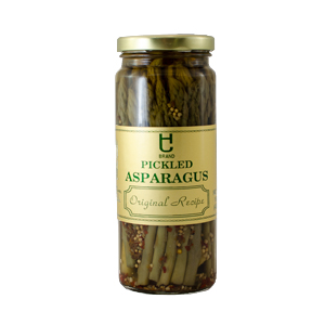 Sweet Candied Jalapenos, Pickled Asparagus, and Garlic